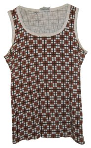 All Cotton Checkered Casual Top Brown and White
