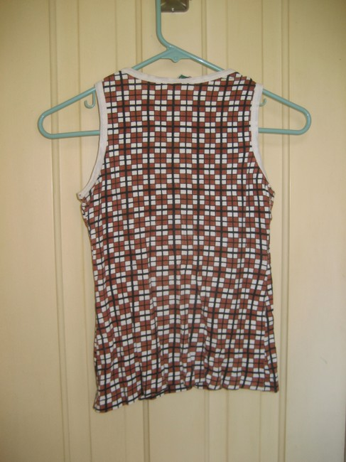 Other All Cotton Checkered Casual Hand Wash Top Brown and White