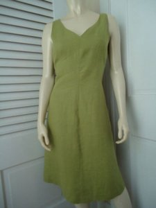 Talbots Petites Irish Linen Sheath Panel Design Sleeveless Dress