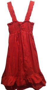 short dress red w/white polka dot on Tradesy