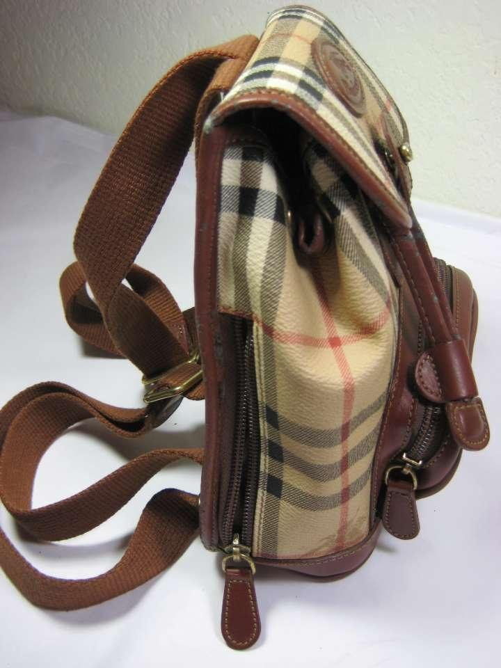 dd8e447d65 Burberry Price Reduced Vintage Small Bag/ Plaid W/ Cognac Leather Trim and  Cloth Straps Coated Pvc Backpack - Tradesy