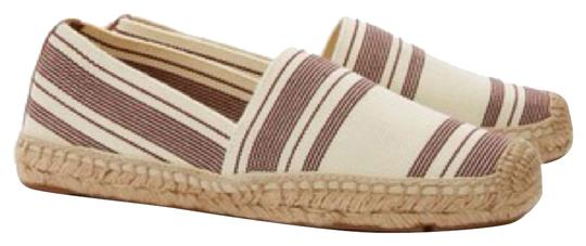 Tory Burch Ivory and Dark Plum Wedges