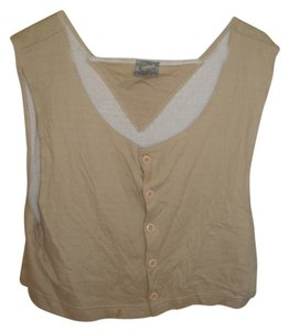 Marithé et François Girbaud Vest Layering Piece Cotton Button Down Shirt Brown