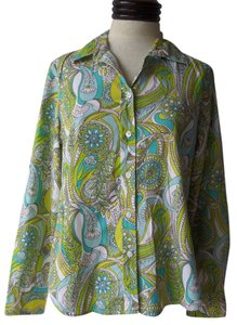 Gap Button Down Shirt Green & Bue Geometric Print