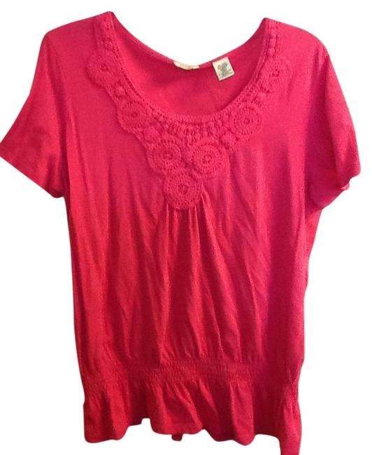 Izod Crochet Fitted Waist Short Sleeve Comfortable Top Pink
