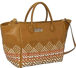 Isabella Fiore Tote in Tan Brown Orange Cream White