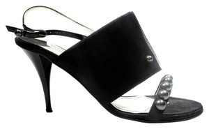 Chanel Pearl Heels Satin Leather Cc Black Sandals