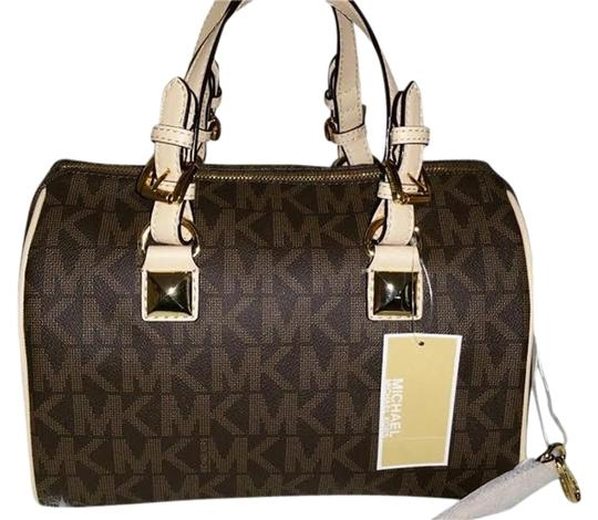 Preload https://item3.tradesy.com/images/michael-kors-mk-monogram-brown-pvc-with-tan-leather-satchel-2992822-0-2.jpg?width=440&height=440