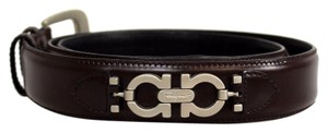Salvatore Ferragamo Salvarote Ferragamo Brown Black Leather Silver Buckle
