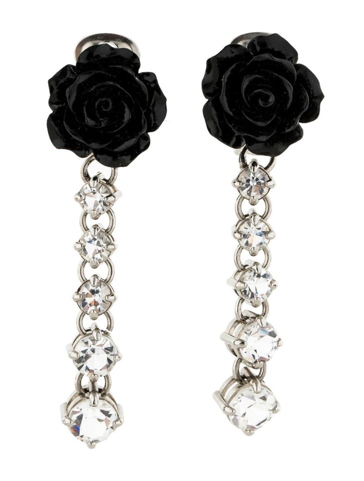 Prada Silver Black Flower & Crystal Drop Earrings