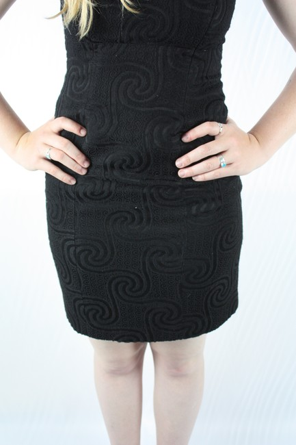 Nicole Miller Strapless Swirl Wool Little Lbd Cocktail Formal Party Dress