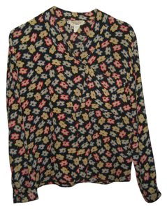Giorgio Armani Floral Shirt Work Shirt Shirt Button Down Shirt Black floral