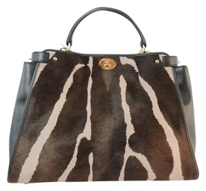 Coach Sale Haircalf Discount Satchel in Brown Black Taupe