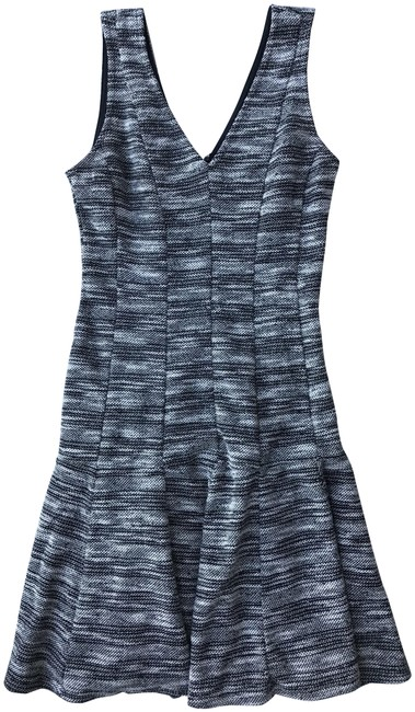 Banana Republic Black and White Marled Tweed Fit-and-flare Short Work/Office Dress Size 6 (S) Banana Republic Black and White Marled Tweed Fit-and-flare Short Work/Office Dress Size 6 (S) Image 1