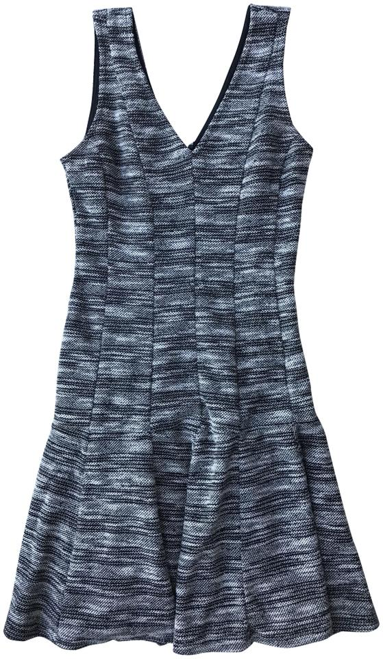 21af9f815f Banana Republic Black and White Marled Tweed Fit-and-flare Work/Office Dress