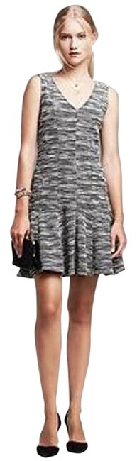 Banana Republic Black and White Marled Tweed Fit-and-flare Short Work/Office Dress Size 6 (S) Banana Republic Black and White Marled Tweed Fit-and-flare Short Work/Office Dress Size 6 (S) Image 2
