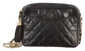 Chanel Vintage Camera Quilted Classic Timeless Jumbo Lizard Leather Large Cc Logo Tassel Fringe Gold Hardware Ghw Flap 2.55 Cross Body Bag