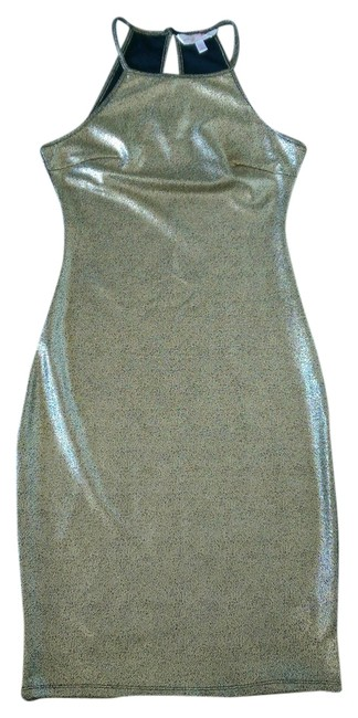 Item - Golden Above Knee Night Out Dress Size 6 (S)