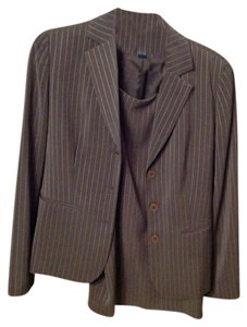 Ann Taylor Brown with white pinstripe skirt suit