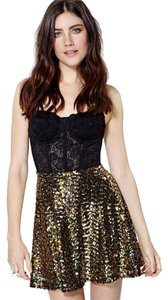 Nasty Gal Gold Sequin Black Night Party Skirt Gold tone