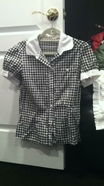 Forever 21 Button Down Shirt black and white gingham