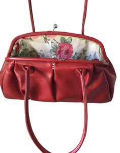 Mango Floral Satchel in Vintage Red Purse - Red & Pink Roses