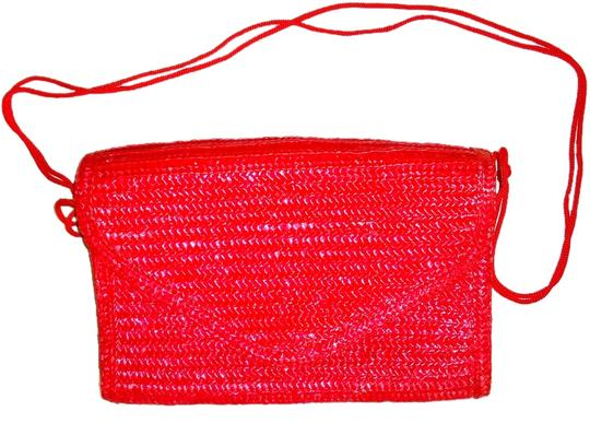 Other Straw Basket Weave red Clutch