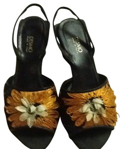 Desmo Made In Italy Party Artsy Black And Orange Sandals