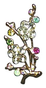 Other Gold Tone Rhinestone Flower Brooch