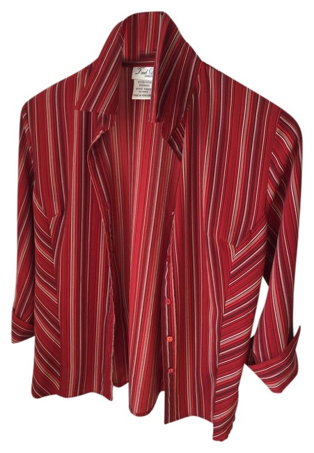 Preload https://img-static.tradesy.com/item/2995366/fred-david-red-black-and-white-stripes-pretty-office-blouse-size-6-s-0-0-650-650.jpg