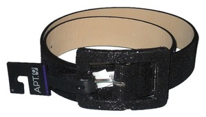 Apt. 9 Womens Belt Black Shimmer Glitter Apt 9 Large Buckle Faux Leather Size M New