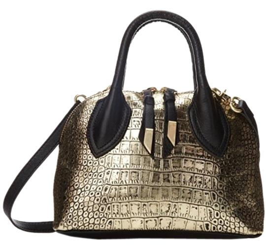 Preload https://item2.tradesy.com/images/foley-corinna-black-and-gold-leather-satchel-2995516-0-0.jpg?width=440&height=440