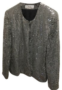 Carlisle Sequin Knit Sequins Holiday In-style Party Date Night Night Out Theater Broadway Dining Symphony Christmas New Year's Black & White Jacket