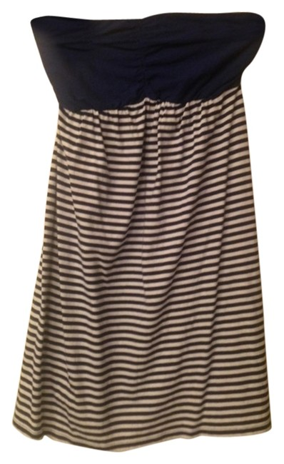 Express short dress Blue and white stripe Strapless on Tradesy
