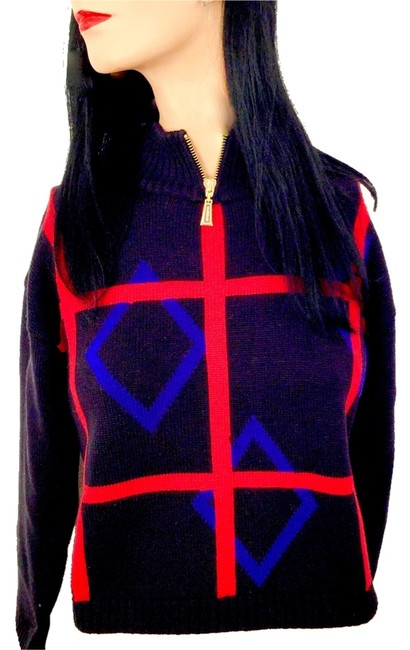 Classiques Entier Geometric Design Architectural Wool Trendy Stylish Fall Collar Knit Sweater