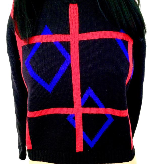 Classiques Entier Geometric Design Architectural Wool Trendy Stylish Fall Winter Collar Knit Sweater