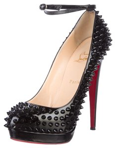 Christian Louboutin Patent Patent Leather Stiletto Platform Hidden Platform Mary Jane Spike Studded Ankle Strap Black Pumps