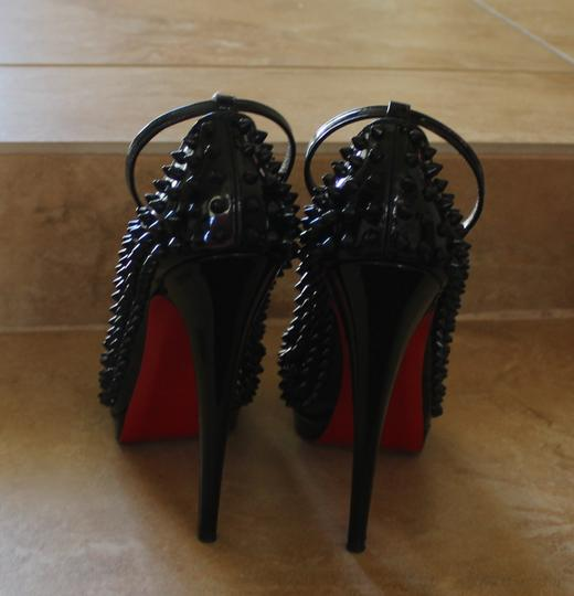 Christian Louboutin Patent Leather Alti Spike Ankle Strap Studded Black Pumps