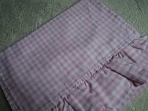 Custom Made Pink Reserved: Gingham Ruffled Table Runners Tablecloth