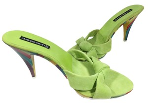 Claudia Ciuti Summer Suede Bright Lime Green Sandals