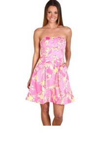 Lilly Pulitzer short dress pink, green, yellow Strapless Floral Preppy Sundress on Tradesy