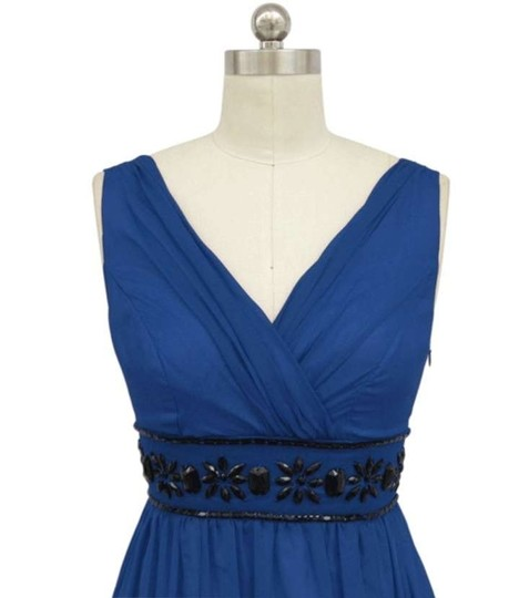 Royal Blue Chiffon Goddess Beaded Waist Formal Bridesmaid/Mob Dress Size 22 (Plus 2x)