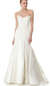 Reem Acra Ivory Satin Iris Gown Feminine Wedding Dress Size 4 (S)