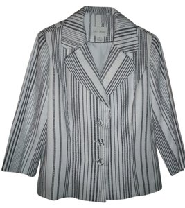 White House | Black Market Striped 3/4 Sleeves White/Black Blazer