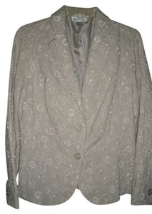 Coldwater Creek Petite Embroidered Linen/Cream Blazer