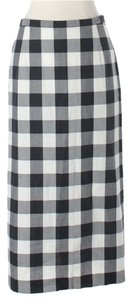 agnès b. Gingham Checkered Maxi Skirt Black, White