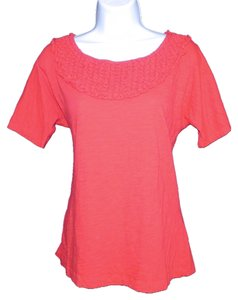 Mango Slub Knit Machine Washable T Shirt Red