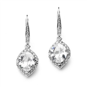 Mariell Marquise Cubic Zirconia Drop Wedding Earrings With Vintage Euro Wire Top 4007e