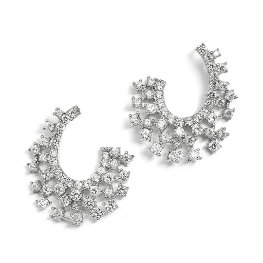 Mariell Silver Parklling Cubic Zirconia Spray For Mothers Of The Bride 4012e Earrings