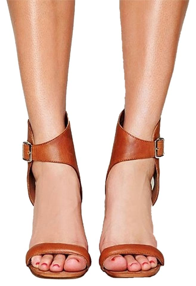 9b1526940 Free People Block Heel Strappy Cutout Stacked Heel Leather Ankle Strap  Chunky Heel Tan Cognac Sandals ...
